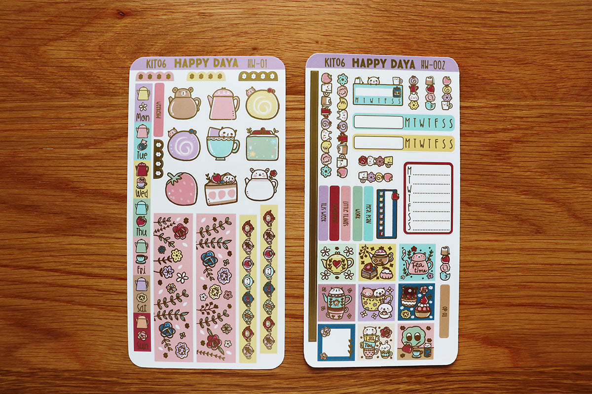 KIT006 (Afternoon tea) : Hobonichi Weeks kit (foil stickers only)