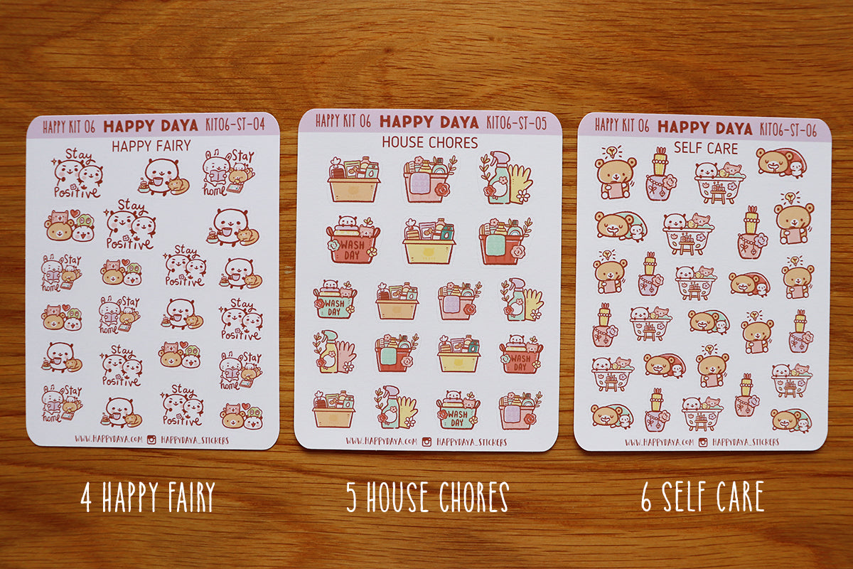 KIT006 (Afternoon tea) : Stickers (individual sheets) from sticker kit