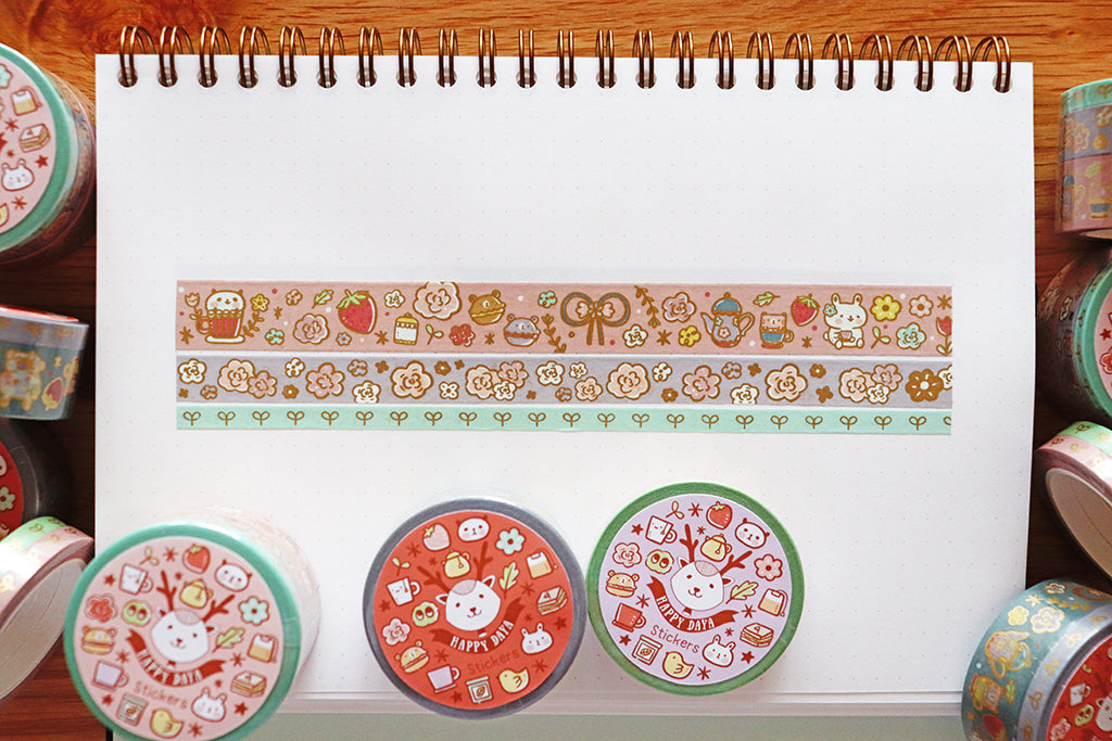 KIT006 (Afternoon tea) : Washi tapes set of 3 rolls (Matt gold foil)