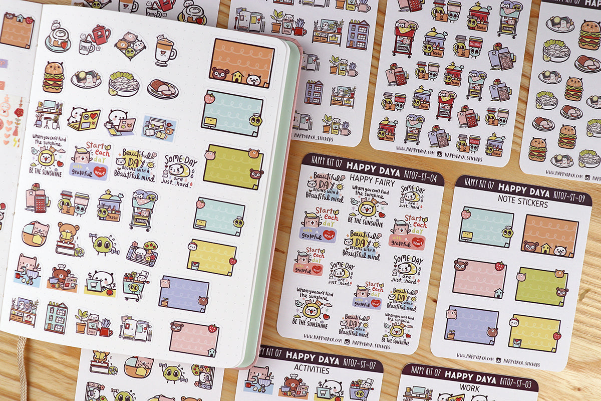 KIT007 (Stay home) : Stickers (individual sheets) from sticker kit