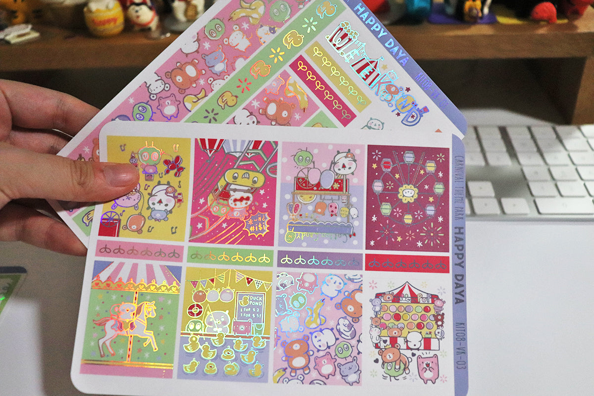 KIT008 (Carnival theme park) :Vertical foiled sticker sheets