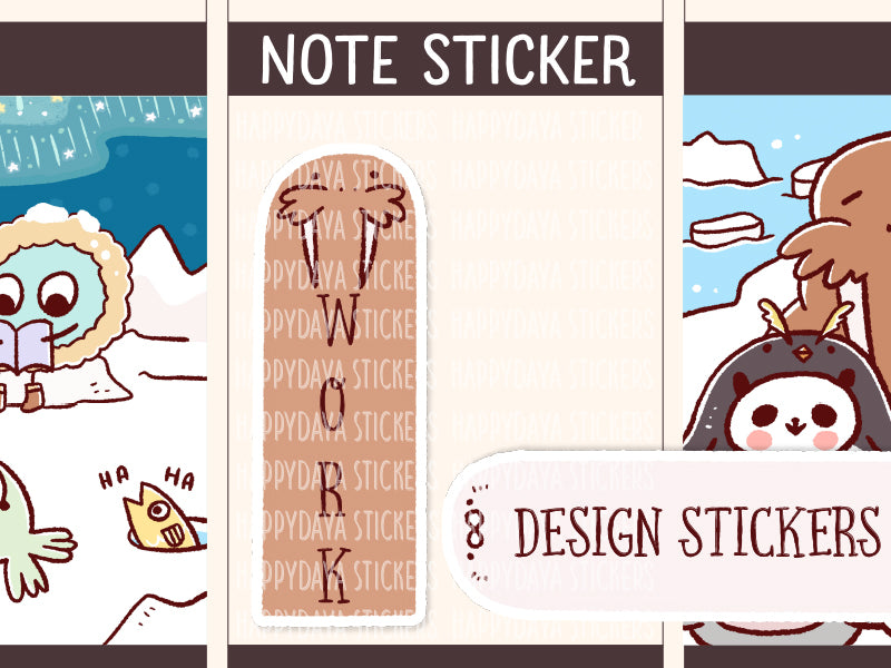 NOTE006: Arctic animals note stickers