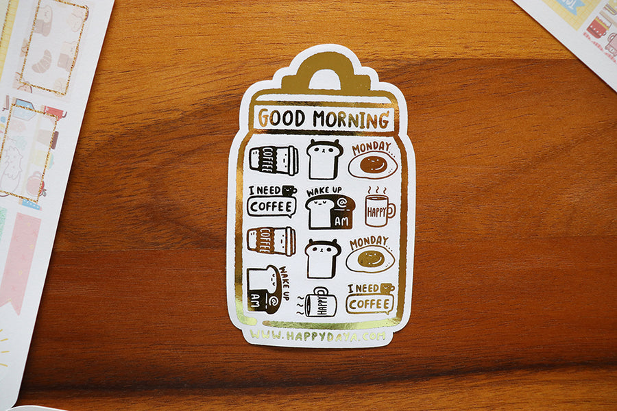 2 Year shop anniversary a la carte: Breakfast gold foiled sticker