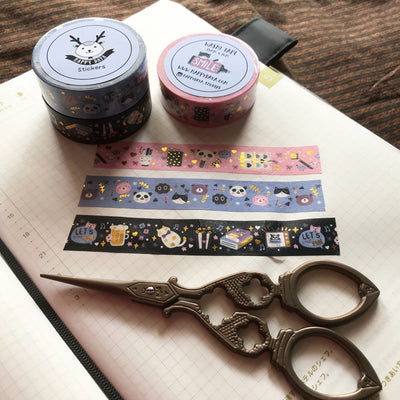 "Washi01: Gold foiled washi tape ""Winter Midnight"" Collection"