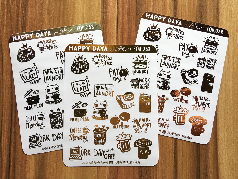 FOIL038: Assorted foiled stickers (Gold, Silver or Rose gold)