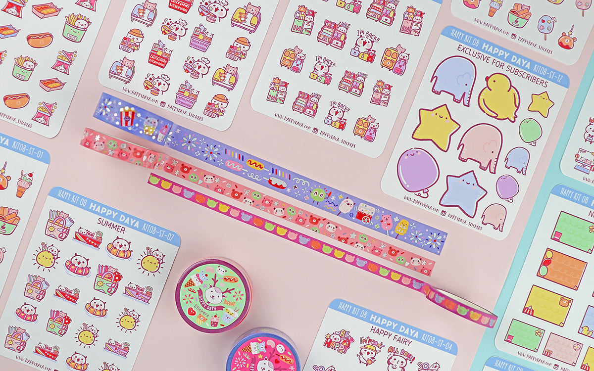 KIT008 (Carnival theme park) : Sticker kit (washi tapes included)