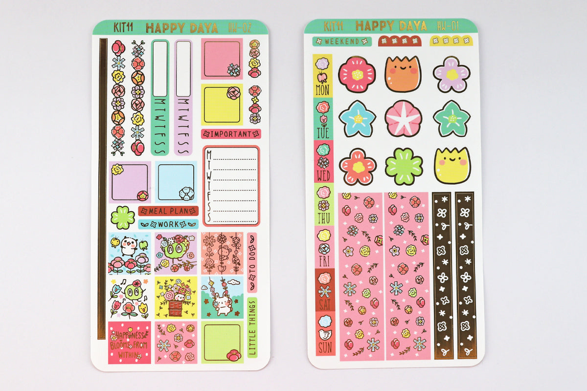 KIT011 (Flowers Bloom) : Hobonichi Weeks kit (foil stickers only)