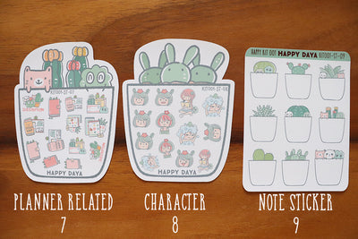 KIT001 (Cactus & succulents) : Stickers (individual sheets)