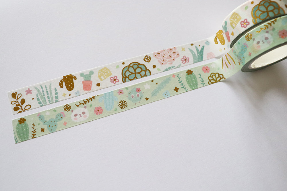 KIT001 (Cactus & succulents) : Washi tapes set (2 rolls)