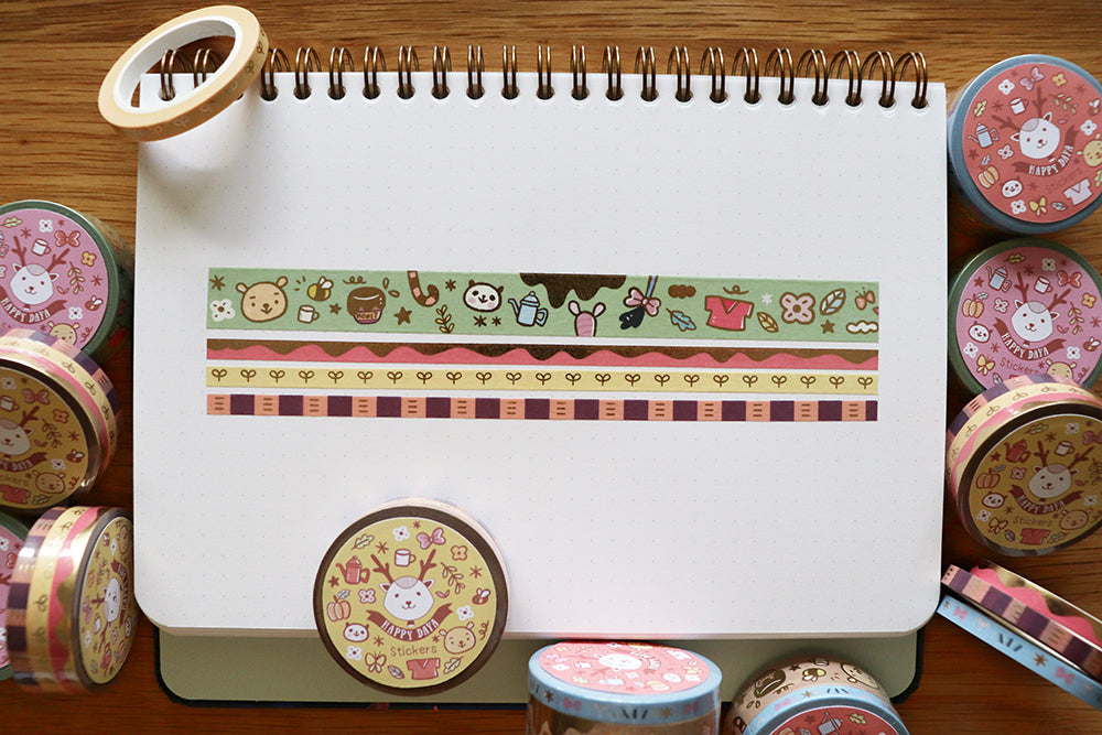 KIT005 (Honey bear) : Washi tapes set 4 rolls (1-15mm roll and 3-5mm rolls)