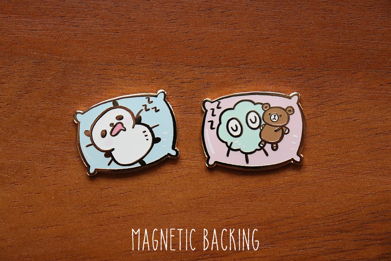MP001: Sleeping Panda and Moss pins (magnetic backing)