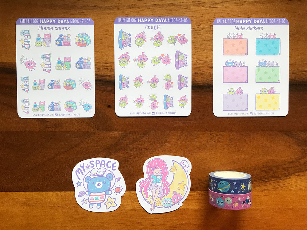 KIT002 (Galaxy) : Sticker kit (washi tapes included)