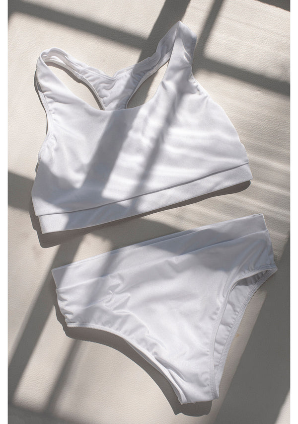White Fit Babe Bikini with Mid Waisted Bottom - Nini Molnar Bags