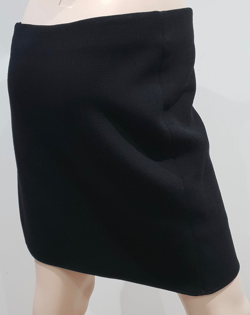HELMUT LANG Black Wool Blend & Leather Panel Lined Short Mini Skirt 8 UK12