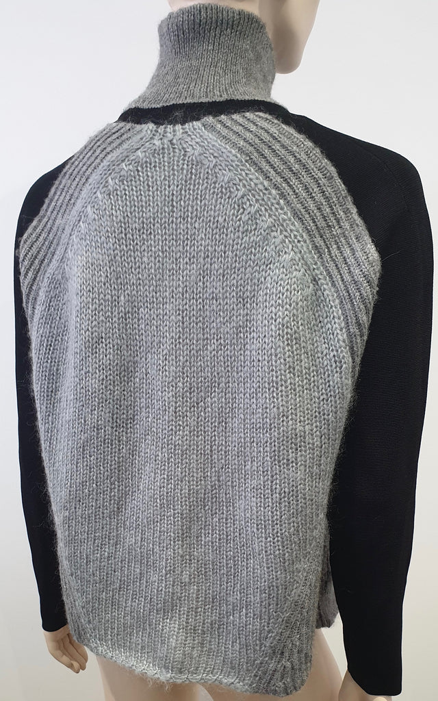 HELMUT LANG Grey & Black Chunky Rib Polo Neck Long Sleeve Jumper Sweater Top S