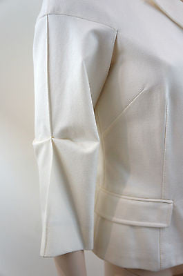 ALESSANDRO DELL'ACQUA Cream / Ivory 3/4 Sleeve Fitted Jacket UK12; US8