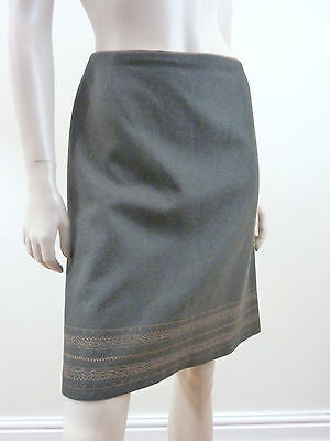 GERSON DI SANTO Olive Green Wool Bronze Embroidery Detail Short Formal Skirt SzM