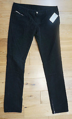 IRO Designer Black Fine Cord Cotton Blend Slim Fit Zip Detail Trousers BNWT Sz30