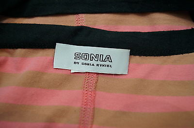 SONIA BY SONIA RYKIEL Pale Pink Beige Stripe Black Trim Anchor Cami T-Shirt Top