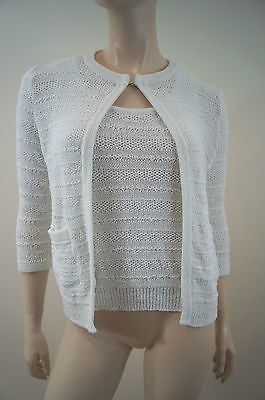 APOSTROPHE White Cotton Mix Knitwear Cami Vest Top & Cardigan Summer Twinset SzS