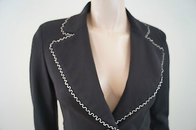 MY STORY Designer Black Silver Trim Fitted Evening Blazer Jacket UK8 BNWT