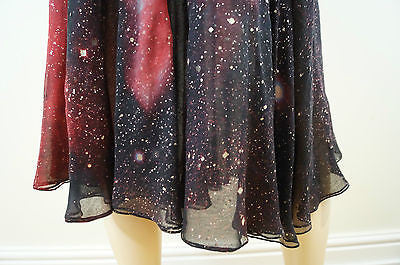 ROBERTO CAVALLI Multi Colour Rose Print Metallic Silver Silk Evening Skirt XS