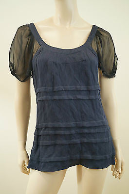 VENA CAVA Dark Navy Blue & Black Chiffon Sleeve Scoop Neck Evening Top UK10; US6