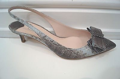 MIU MIU Snakeskin Bow Detail Slingback Kitten Heel Sandals Shoes EU40.5  - New!