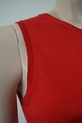 BURBERRY London Red 100% Cotton Knitwear Tank Sleeveless Sweater Top Sz: S