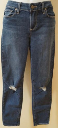 PAIGE Blue Cotton Blend KYLIE CROP Rip Detail Skinny Pants Jeans Sz:29