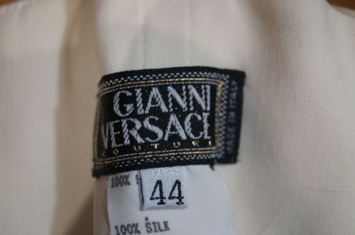 GIANNI VERSACE Cream Silk Branded Hardware Evening Corset & Skirt Suit I44 UK12