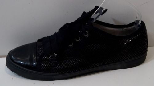 LANVIN Black Python Embossed Leather Low Top Tennis Sneakers Trainers