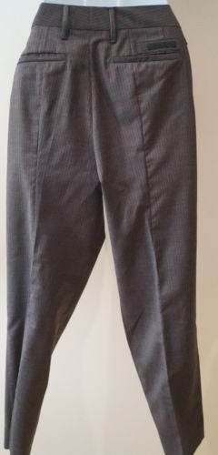 PRADA MILANO Grey & Orange Virgin Wool Pinstripe Crop Formal Trousers Pants Sz:4