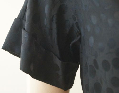 MARC BY MARC JACOBS Black Cherry Print Jacquard Silk Wrap Blouse Top Sz:M