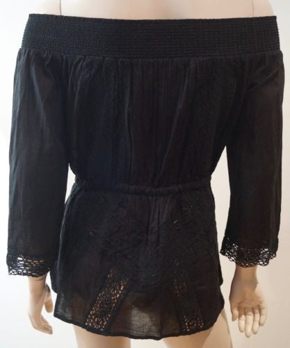 MICHAEL MICHAEL KORS Black Cotton Off Shoulder 3/4 Sleeve Embroidery Blouse Top