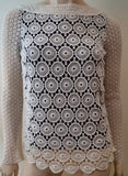 TORY BURCH Black Cream Crochet Cotton & Silk Round Neck Long Sleeve Top 2 UK6
