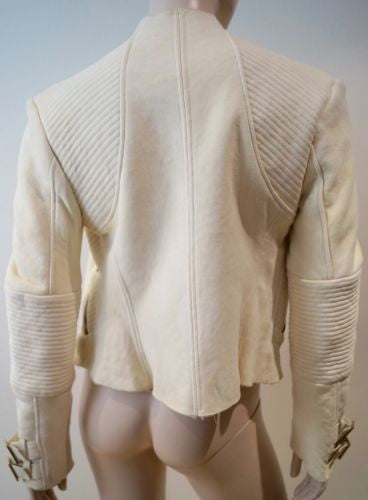 GUCCI Cream Suede Leather Stitch Detail Sheepskin Lined Zipper Jacket 44 UK12