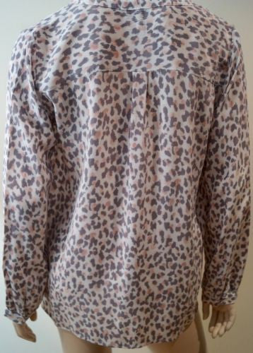 JOIE Cream Pink & Brown 100% Silk Animal Print V Neck Long Sleeve Blouse M