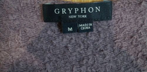 GRYPHON Purple Grey Cotton Angora Blend Scoop Neck Short Sleeve T-Shirt Top M