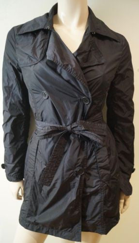 ADD Black Collared Lightweight Belted Mac Trench Coat Jacket IT40 UK10