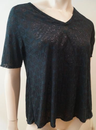 ZADIG & VOLTAIRE Blue & Black Glitter MARGOT BURN SKULL Short Sleeve T-Shirt Tee