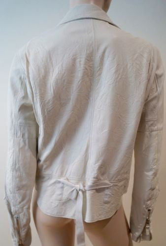 HELMUT LANG White Leather Silver Tone Zipper Biker Jacket SZ42; UK10