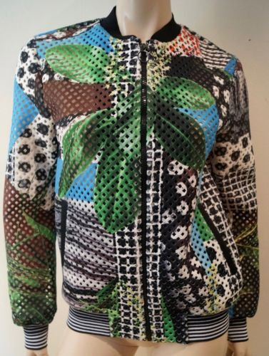 CLOVER CANYON Multi Colour Tropical Print Perforated Bomber Jacket M BNWT