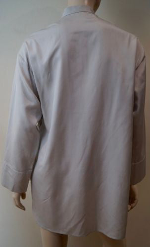 JOSEPH White Gold Sheen KURT Silk POPLIN Oversized Shirt Blouse FR36 8