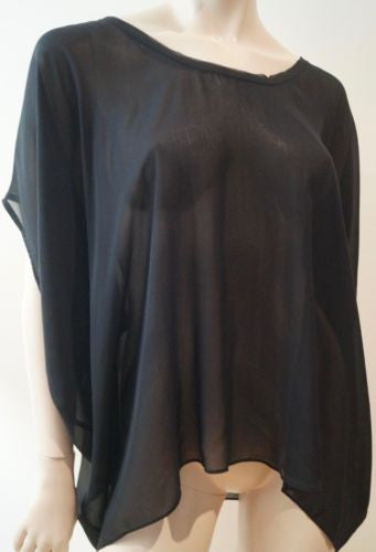 HELMUT LANG Black Silk Sheer Scoop Neck Short Batwing Sleeve Evening Top M