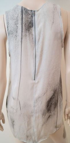 HELMUT LANG Cream Black Pink & Blue Abstract Print Fray Trim Sleeveless Top M