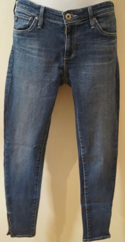 AG ADRIANO GOLDSCHMIED Blue Skinnny Ankle Zip Faded Detail Jeans Pants 26R