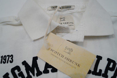 SCOTCH SHRUNK Winter White Worked Out Short Sleeve Collared Polo Shirt Top BNWT