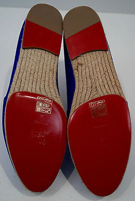 CHRISTIAN LOUBOUTIN Colbalt Blue Satin Slip On Espadrilles Shoes 40 UK7 - New!