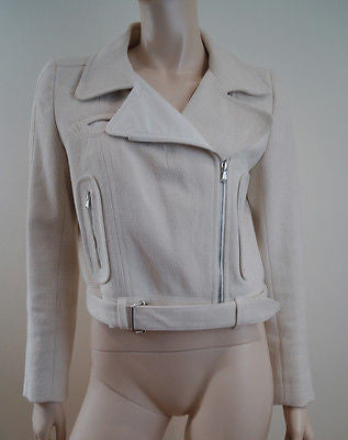 CARVEN Ladies Cream Cotton Box Biker Short Length Fitted Belted Jacket UK12; 40